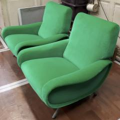 Marco Zanuso Marco Zanuso pair of model lady arm chair newly covered in green velvet - 1005097