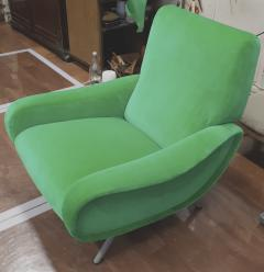 Marco Zanuso Marco Zanuso pair of model lady arm chair newly covered in green velvet - 1005113