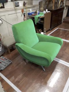 Marco Zanuso Marco Zanuso pair of model lady arm chair newly covered in green velvet - 1005121