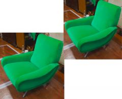 Marco Zanuso Marco Zanuso pair of model lady arm chair newly covered in green velvet - 1005122