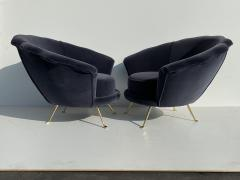 Marco Zanuso Pair Scalloped Back Velvet Lounge Chairs with Brass Legs - 1275708