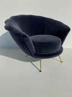 Marco Zanuso Pair Scalloped Back Velvet Lounge Chairs with Brass Legs - 1275712