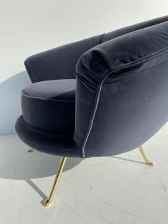 Marco Zanuso Pair Scalloped Back Velvet Lounge Chairs with Brass Legs - 1275717