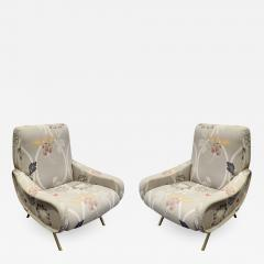 Marco Zanuso Pair of Sculptural Italian Lounge Chairs with Brass Legs 1950s - 795137