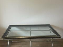 Marge Carson MODERN NEOCLASSICAL BRUSHED NICKEL AND BRASS TRIPLE X BASE COFFEE TABLE - 1947712