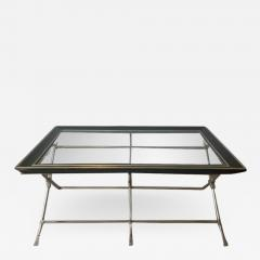 Marge Carson MODERN NEOCLASSICAL BRUSHED NICKEL AND BRASS TRIPLE X BASE COFFEE TABLE - 1953478