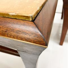 Maria Teresa Mendez Neoclassical Mahogany Goatskin Side Tables Hand Painted - 1949514