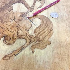 Maria Teresa Mendez Neoclassical Mahogany Goatskin Side Tables Hand Painted - 1949515