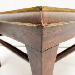 Maria Teresa Mendez Neoclassical Mahogany Goatskin Side Tables Hand Painted - 1949522