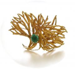Marianne Ostier MARIANNE OSTIER Gold Emerald and Diamond Brooch Ear Clips - 50850