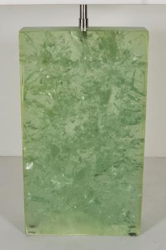 Marie Claude Fouquieres MARIE CLAUDE DE FOUQUIERES RECTANGULAR GREEN RESIN CRACKLED TABLE LAMP - 1614388