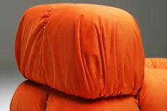 Mario Bellini Camaleonda Lounge Chairs in Bright Orange Velvet 1970s - 1420982