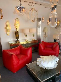 Mario Bellini Le Bambole Armchairs Red Leather by Mario Bellini for B B Italia 1970s - 1405954