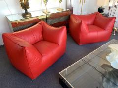 Mario Bellini Le Bambole Armchairs Red Leather by Mario Bellini for B B Italia 1970s - 1405963