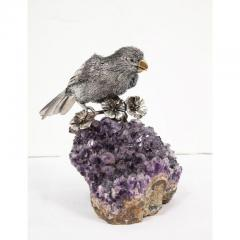 Mario Buccellati an Exceptional Italian Silver Parrot on Amethyst - 1162412
