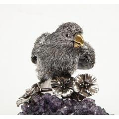 Mario Buccellati an Exceptional Italian Silver Parrot on Amethyst - 1162415