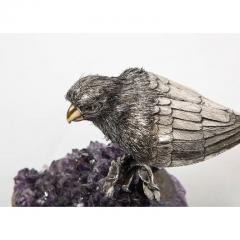 Mario Buccellati an Exceptional Italian Silver Parrot on Amethyst - 1162417