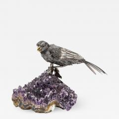 Mario Buccellati an Exceptional Italian Silver Parrot on Amethyst - 1162519
