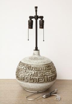 Marius Bessone Monumental ceramic lamp with deeply incised design - 1131091