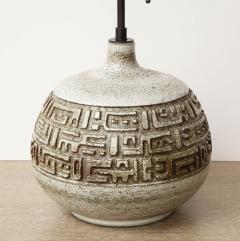 Marius Bessone Monumental ceramic lamp with deeply incised design - 1131093