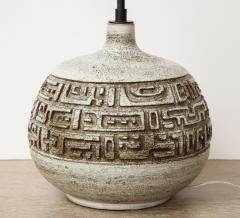 Marius Bessone Monumental ceramic lamp with deeply incised design - 1131095