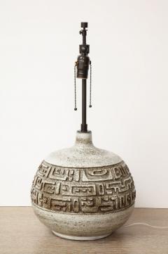 Marius Bessone Monumental ceramic lamp with deeply incised design - 1131097