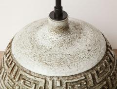 Marius Bessone Monumental ceramic lamp with deeply incised design - 1131101
