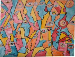 Mark Adams All Those Eyes Acrylic On Canvas by Mark Adams - 468179