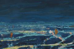 Mark Horton Aerial View of City Horizon at Night 18 x50  - 1191326