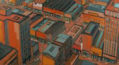 Mark Horton City in Orange and Green 32 x 58  - 1191247