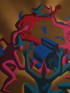 Mark Kostabi Cash Dance Lithograph by Kostabi - 227235