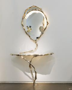 Markus Haase Markus Haase Bronze and Marble Console with Bronze Mirror DE - 1296815