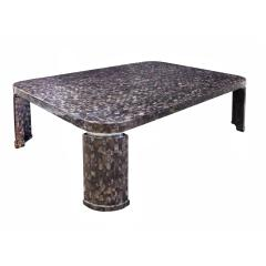 Marquis Collection of Beverly Hills Superb Coffee Table in Tessellated Abalone Shells 1980s Signed  - 1965454