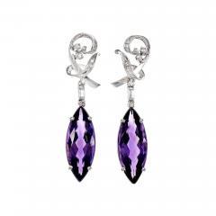 Marquise Amethyst Diamond Dangle Gold Earrings - 408412