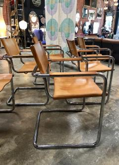 Mart Stam Mart Stam Six Italian Leather Armchairs 1950s - 1083902