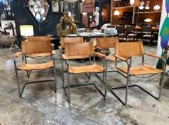 Mart Stam Mart Stam Six Italian Leather Armchairs 1950s - 1083904