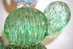 Marta Marzotto 1990s Marta Marzotto Vintage Murano Glass Green Cactus Plant Blue Coral Flower - 1264316