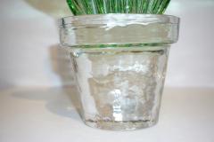 Marta Marzotto 1990s Marta Marzotto Vintage Murano Glass Green Cactus Plant Blue Coral Flower - 1264317