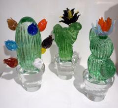 Marta Marzotto 1990s Marta Marzotto Vintage Murano Glass Green Cactus Plant Blue Coral Flower - 1264323