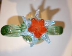 Marta Marzotto 1990s Marta Marzotto Vintage Murano Glass Green Cactus Plant Blue Coral Flower - 1264324