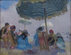 Martha Walter Under the Large Striped Umbrella on a Foggy Day  - 1205393