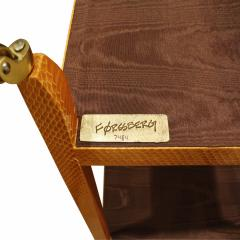 Mary Forssberg Mary Forssberg Table In Apricot Python and Madagascar Cloth Tops 2019 Signed  - 1026616