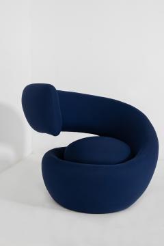 Marzio Cecchi Italian armchairs by Marzio Cecchi in fabric blue 1970s - 1969726