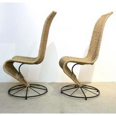 Marzio Cecchi Marzio Cecchi 1970 Italian Pair of Black Lacquered and Beige Wicker Rope Chairs - 390642