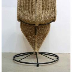 Marzio Cecchi Marzio Cecchi 1970 Italian Pair of Black Lacquered and Beige Wicker Rope Chairs - 390647