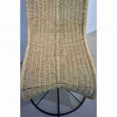 Marzio Cecchi Marzio Cecchi 1970 Italian Pair of Black Lacquered and Beige Wicker Rope Chairs - 390648