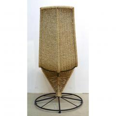 Marzio Cecchi Marzio Cecchi 1970 Italian Pair of Black Lacquered and Beige Wicker Rope Chairs - 390650