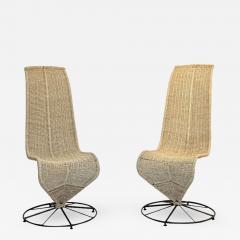 Marzio Cecchi Marzio Cecchi 1970 Italian Pair of Black Lacquered and Beige Wicker Rope Chairs - 391442