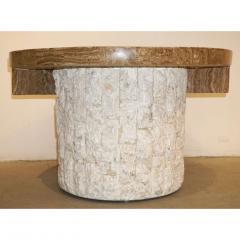 Marzio Cecchi Marzio Cecchi 1970s Italian Vintage White and Ochre Stone Round Side Sofa Table - 479346