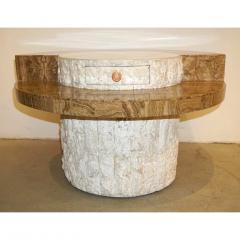 Marzio Cecchi Marzio Cecchi 1970s Italian Vintage White and Ochre Stone Round Side Sofa Table - 479347